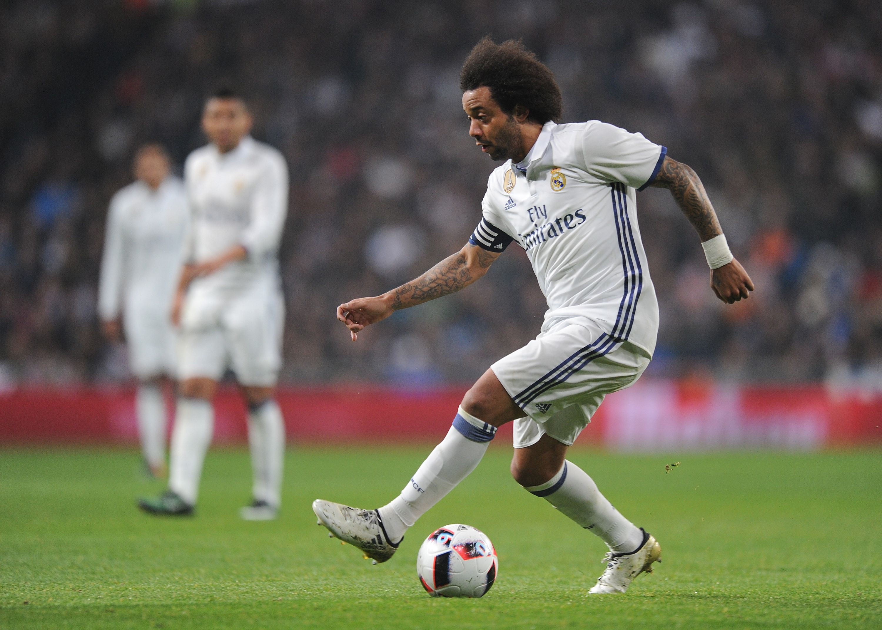 Finishing off the back 4 is Real Madrid left back Marcelo