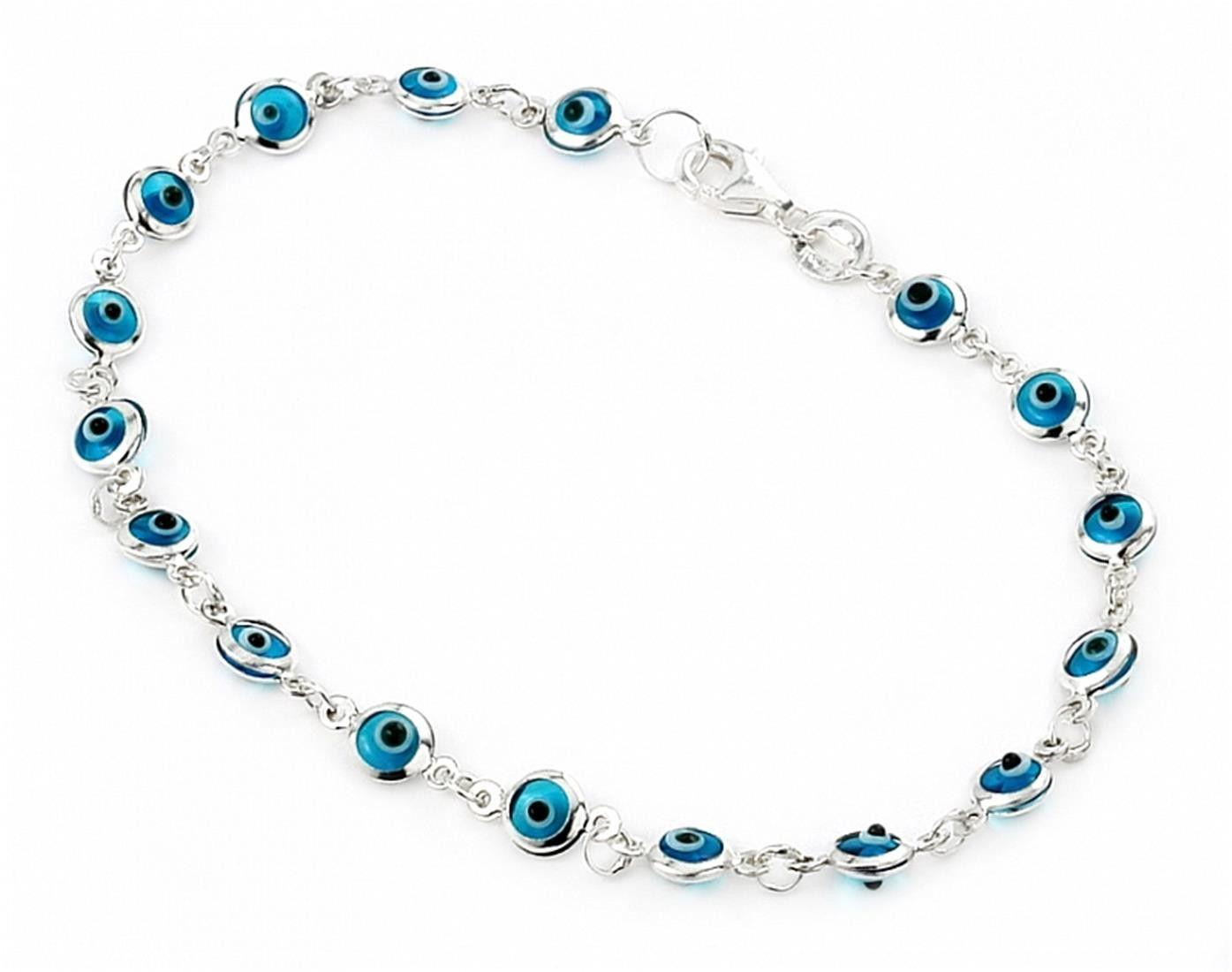 "925 Sterling Silver Light Blue Small Glass Eye Bracelet 7"""""