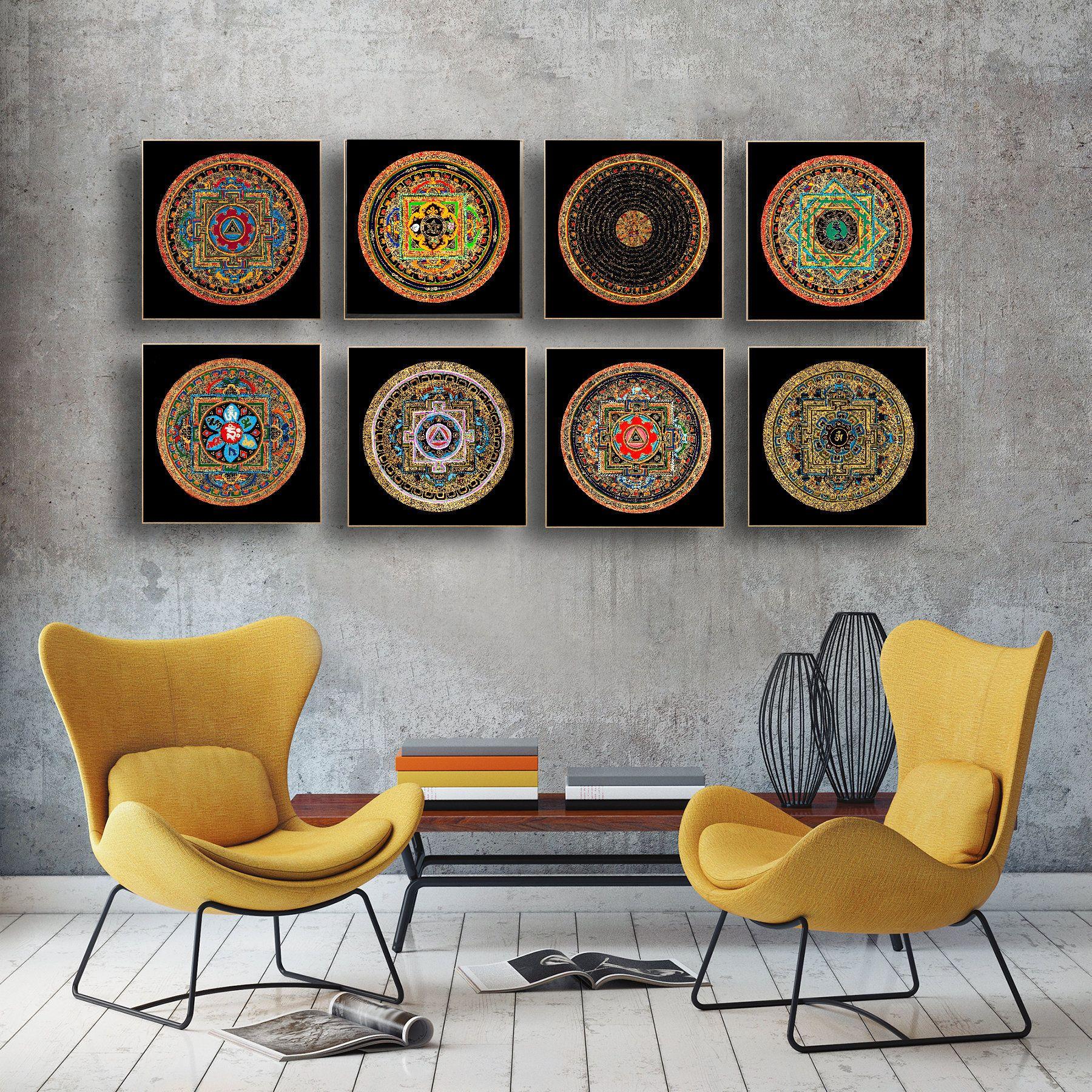 Tibetan Mandala Art Prints Modern Home Decor Wall Art Yoga Etsy Tibetan Mandala Art Tibetan Mandala Home Decor Wall Art