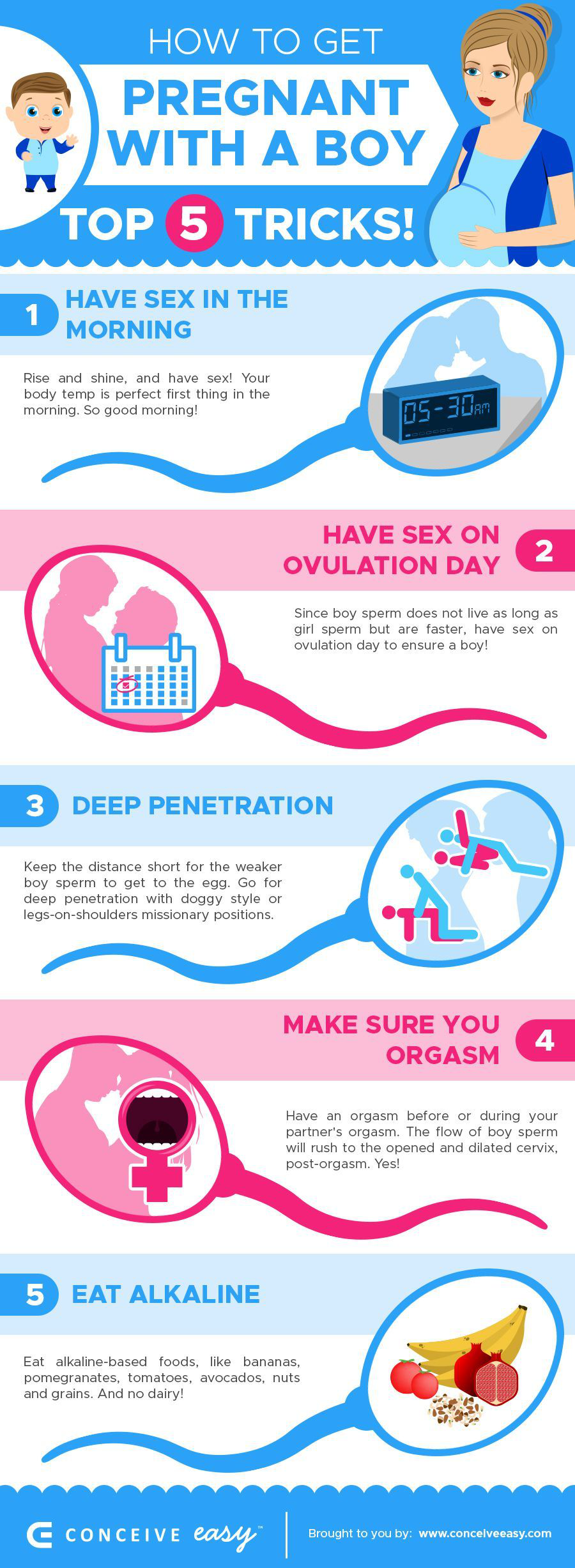 5 Tricks How to Get Pregnant with a Boy Infographic