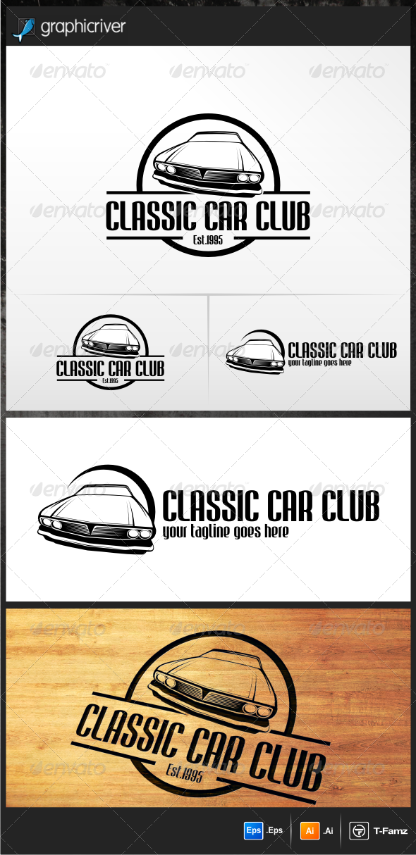 Classic Car Club Logo Design Template Vector logotype