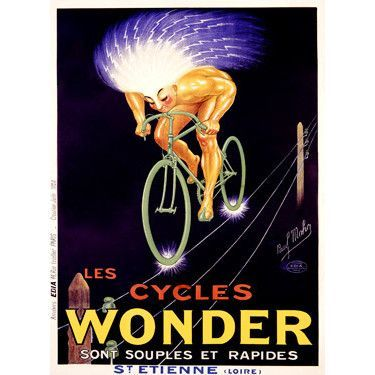 Les Cycles Wonder by Artist Paul Mohr Wood Sign