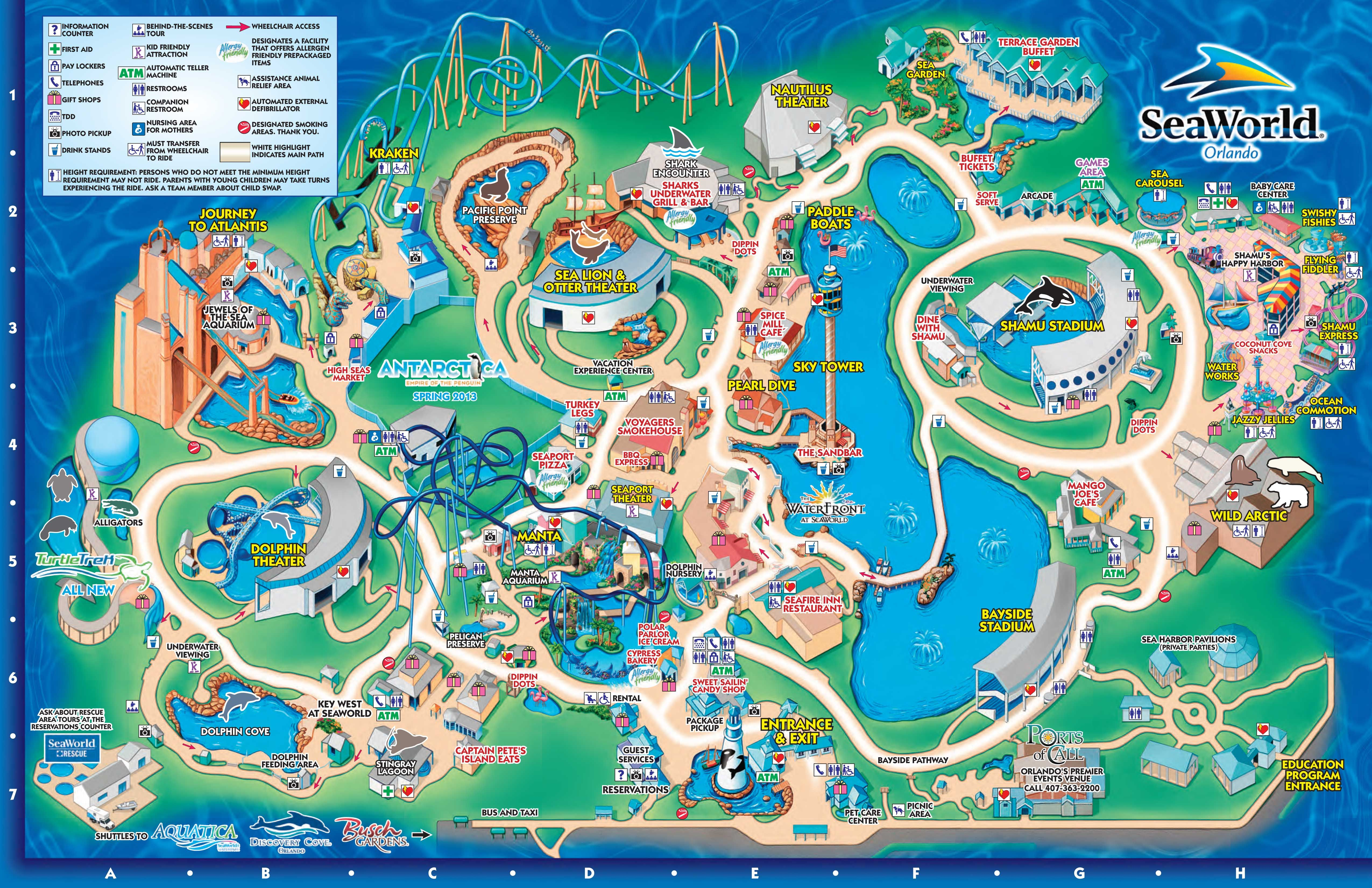 SeaWorld Orlando Theme Park Map  Orlando FL  mappery  Aquariums