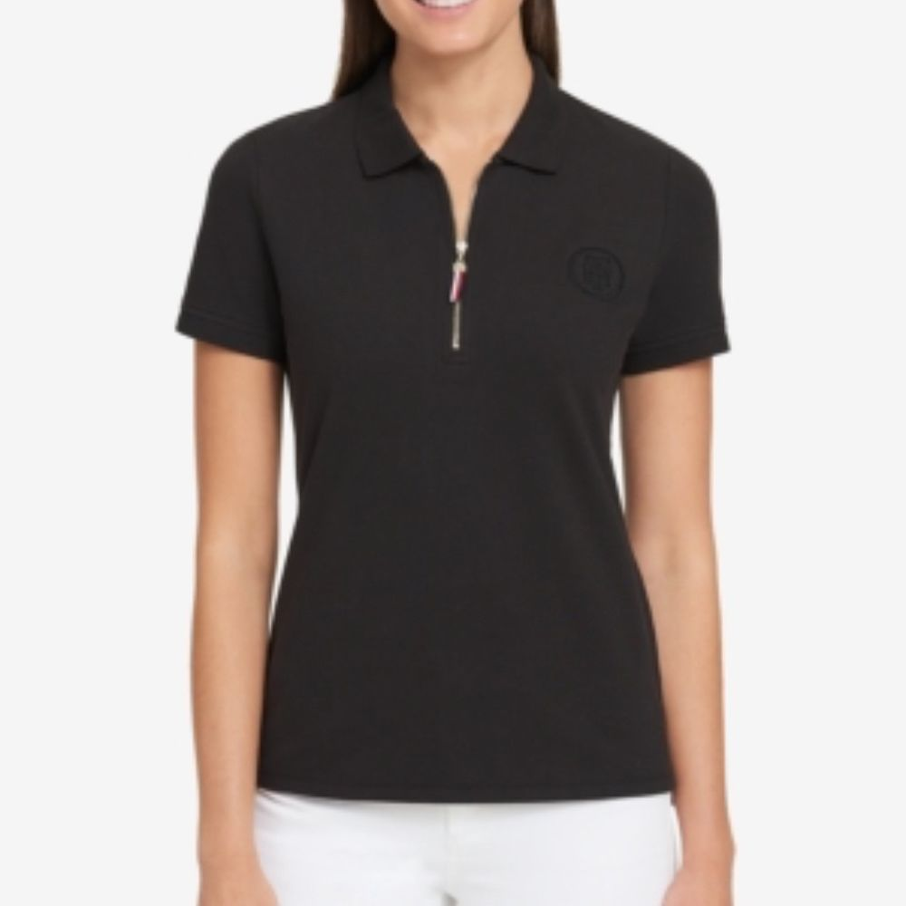 6fe570ec Nwt Tommy Hilfiger Women's Black Zip Up Short Sleeve Heritage Polo Top Size  M #TommyHilfiger #TShirt