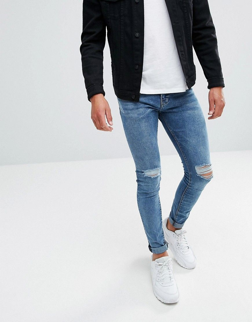 Pull Bear Super Skinny Jeans In Blue Wash Blue Leather Jacket Outfit Men Blue Jeans Outfit Men Mens Casual Outfits Summer