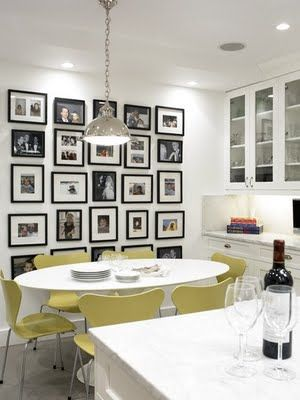 Photo Wall for dining room. Straight lines, black and white ...