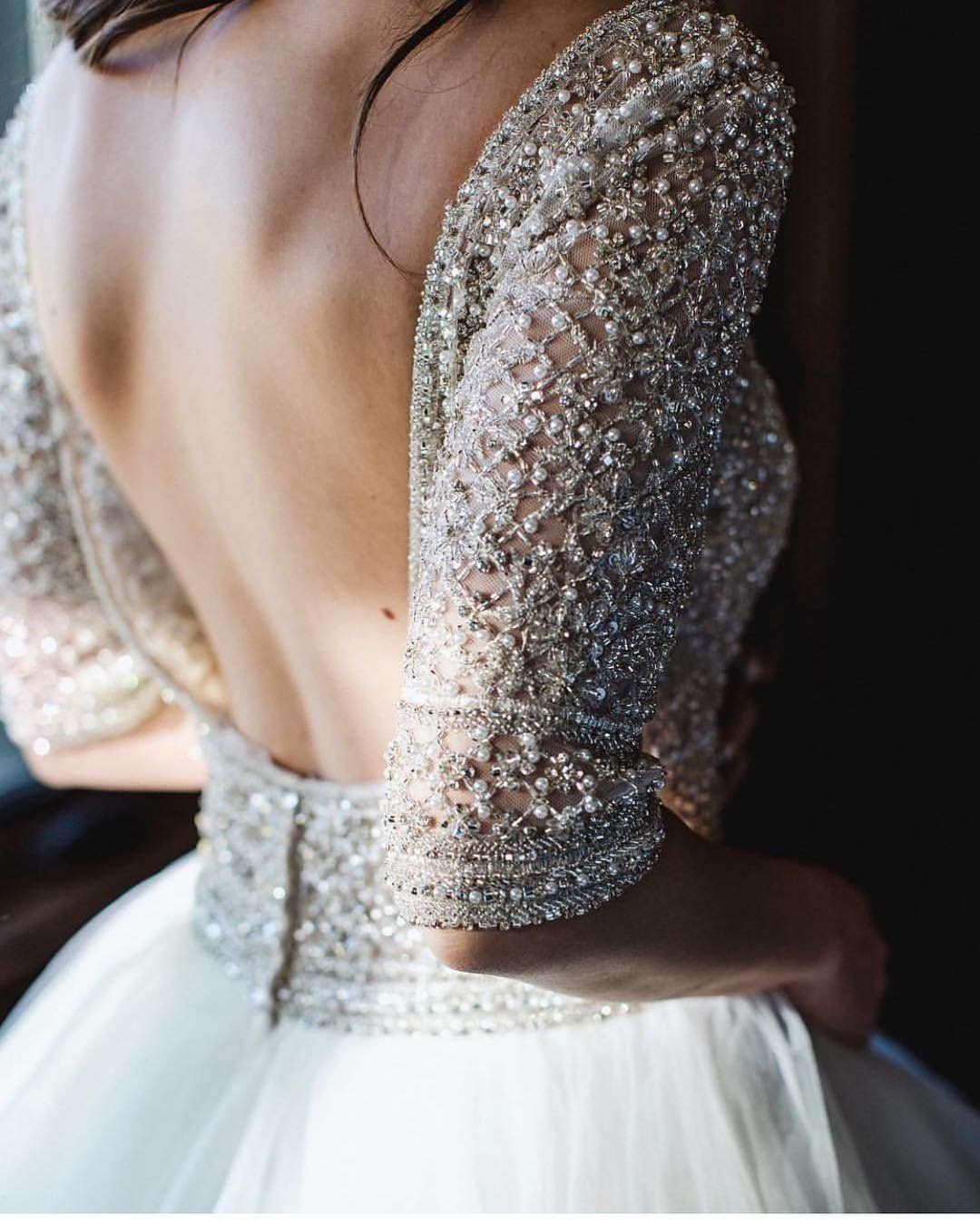 This Backless Ballgown Wedding Dress Has A Fully Beaded Quarter