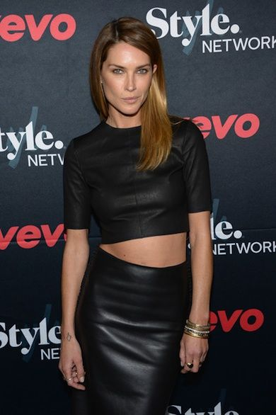Erin Wasson Black Leather Crop Top Black Leather Pencil Skirt Vevo ...