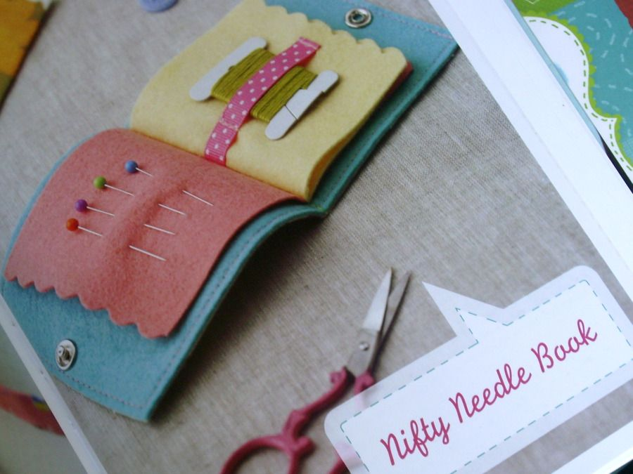 """Nifty Needle Book"" (a travel-sized book for storing sewing/mending supplies) shown in the book Sew Darn Cute by Jenny Ryan."