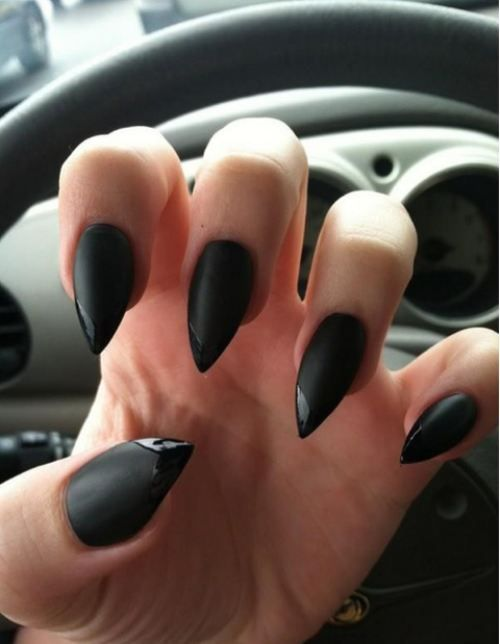 Glossy black on matte black French tipped stiletto nail designs ...