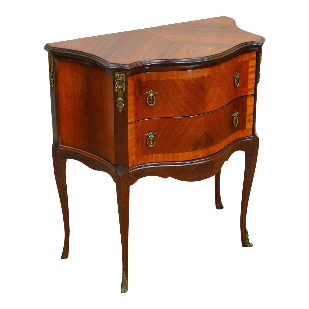 French Louis Xv Style 1920s Vintage Satin Wood Inlaid Commode Or