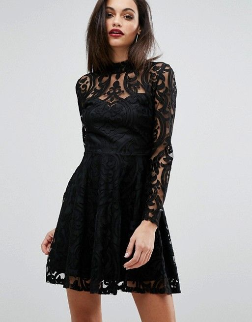 Lipsy Lace Burn Out High Neck Dress in black at Asos
