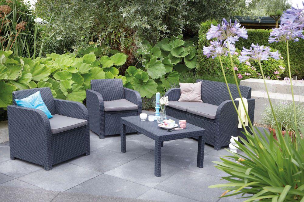 Allibert Oklahoma Rattan Garden Patio Outdoor Furniture Sofa Table 2 Chairs Outdoor Lounge Set Garden Sofa Set Outdoor Patio Table
