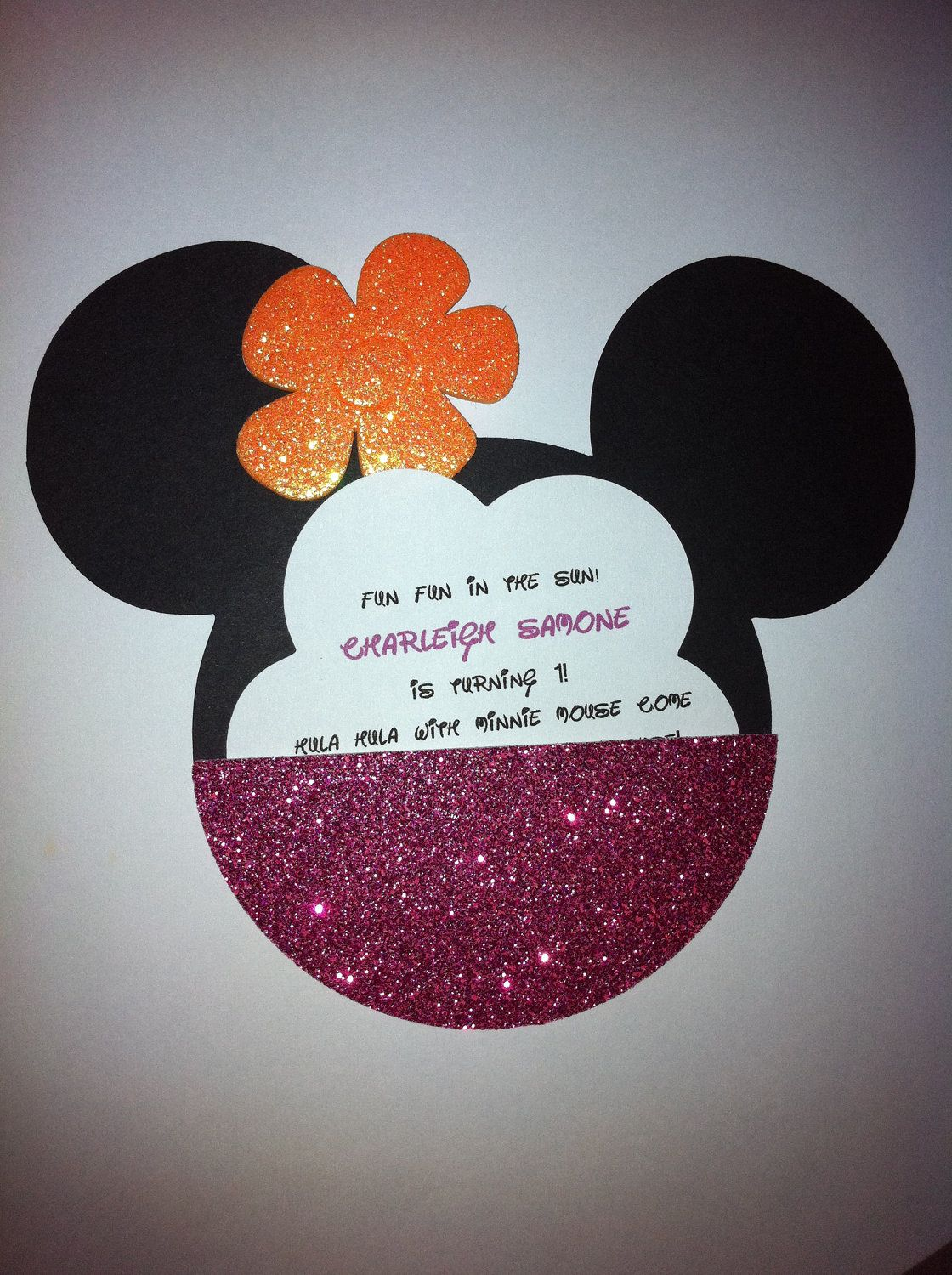 Minnie Mouse Luau Invitation 300 Via Etsy