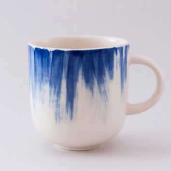 handmade ceramic mug with blue coffee mug tea cup stoneware cup