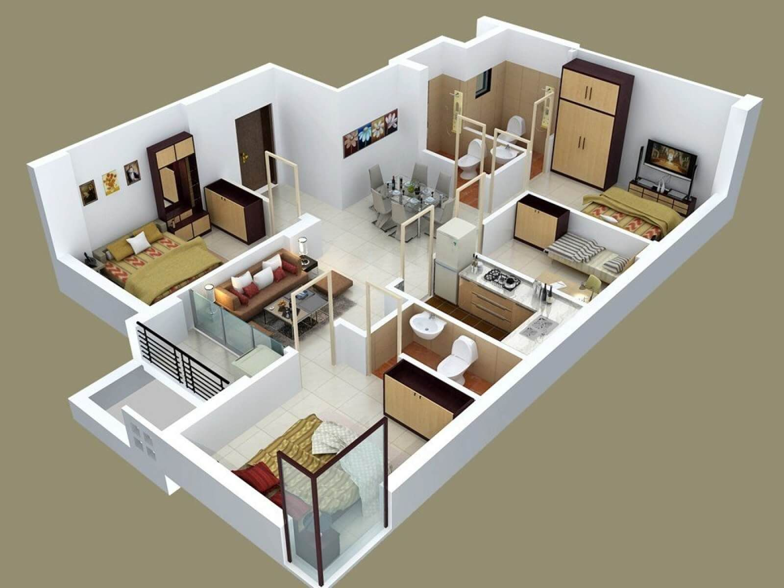 40 Amazing 3 Bedroom 3d Floor Plans Engineering Discoveries Best Modern House Design House Floor Plans 4 Bedroom House Designs