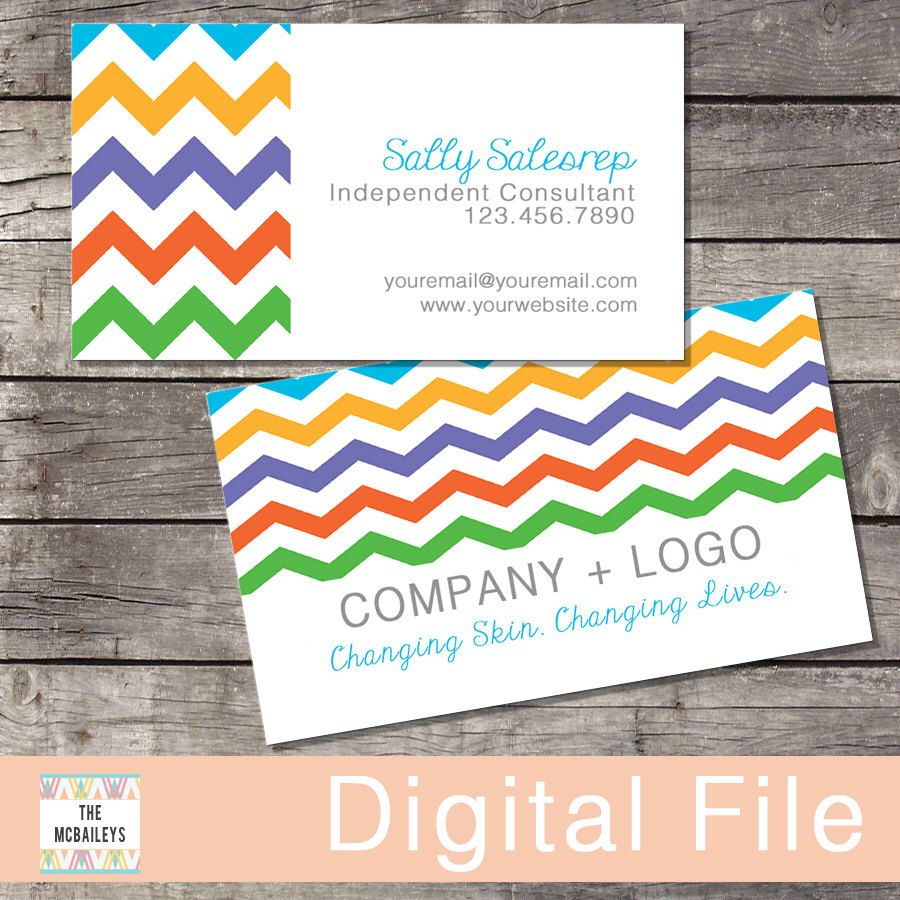 Rodan+Fields Business Card | Digital File | Rainbow Chevron by ...