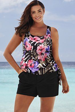 74b8223f5a2c1 Shortinis - Beach Belle Hibiscus Blouson Cargo Shortini