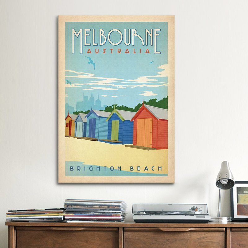 Youll love the brighton beach melbourne australia by vintage advertisement on canvas at wayfair great deals on all dcor pillows products