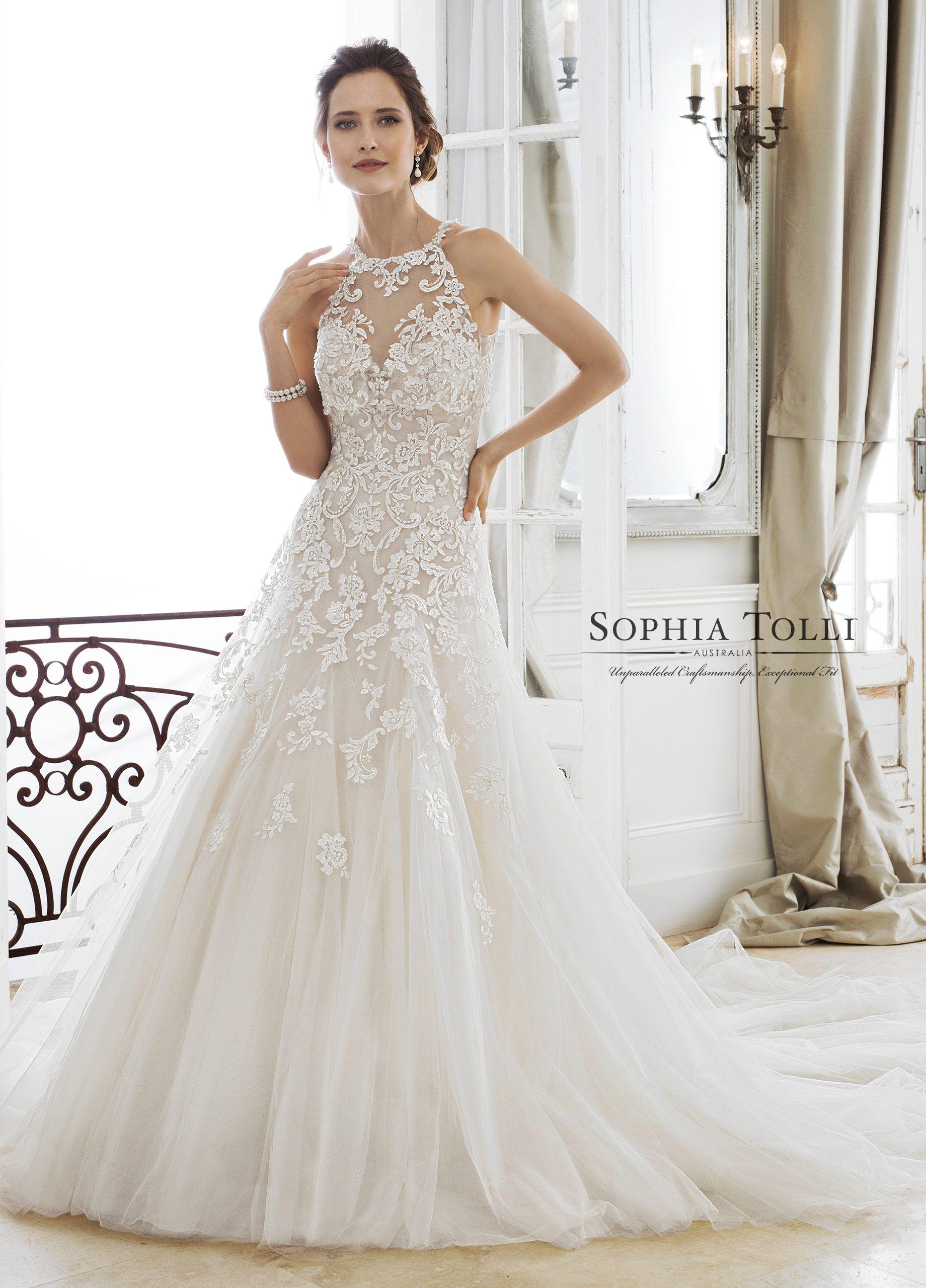 Sophia tolli wedding gowns y adonia illusion neckline