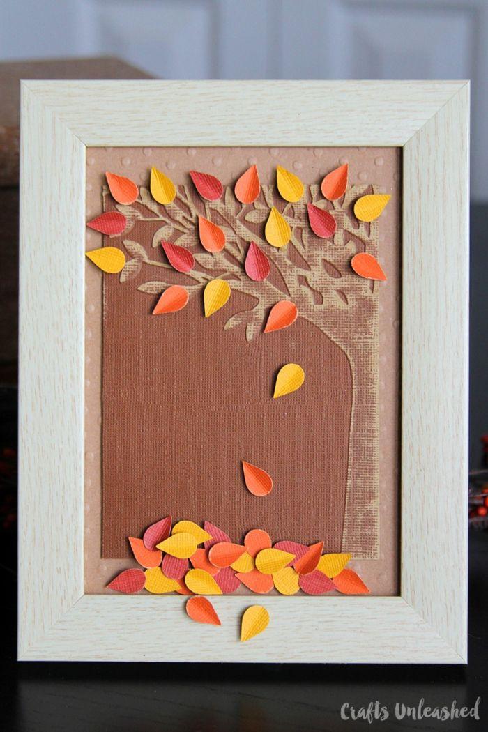 Herbstdeko Selber Machen Stempel Selber Machen Abdruck Blatt Eingerahmt