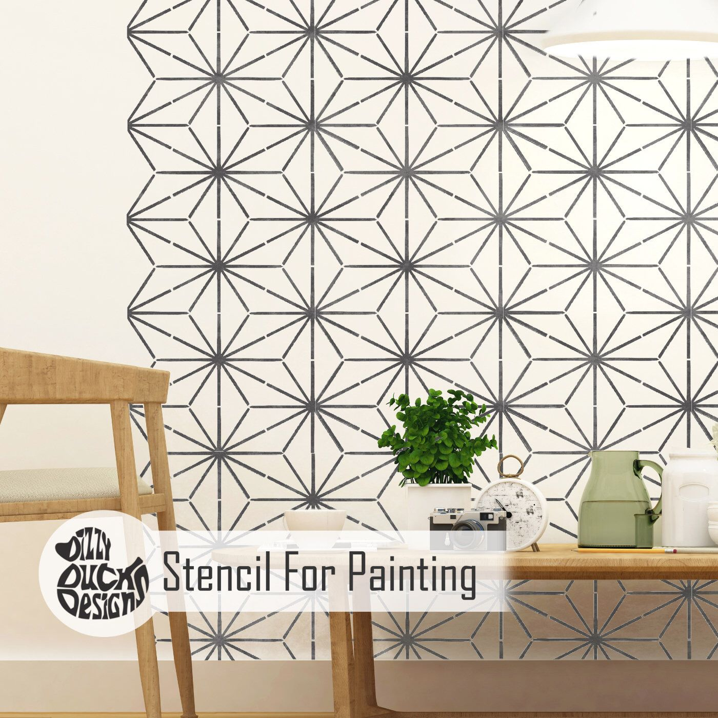 Kyoto Stencil Modern Oriental Eastern Japanese Wall Furniture Floor Craft Stencil For Painting Kyot01 Geometric Stencil Stencils Wall Stenciled Floor