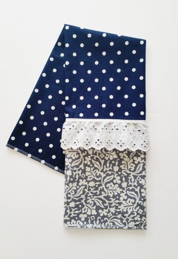 Best Blue And Gray Modern Kitchen Towel Soft Flannel Towel 640 x 480
