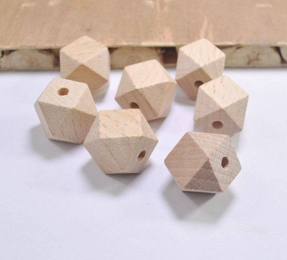 High quality Faceted beech Wood Bead20Pcs 20mm Unfinished Natural Geometric Figure Polygon Wooden BeadsFor DIY Teether  Nursing Necklaces  Products