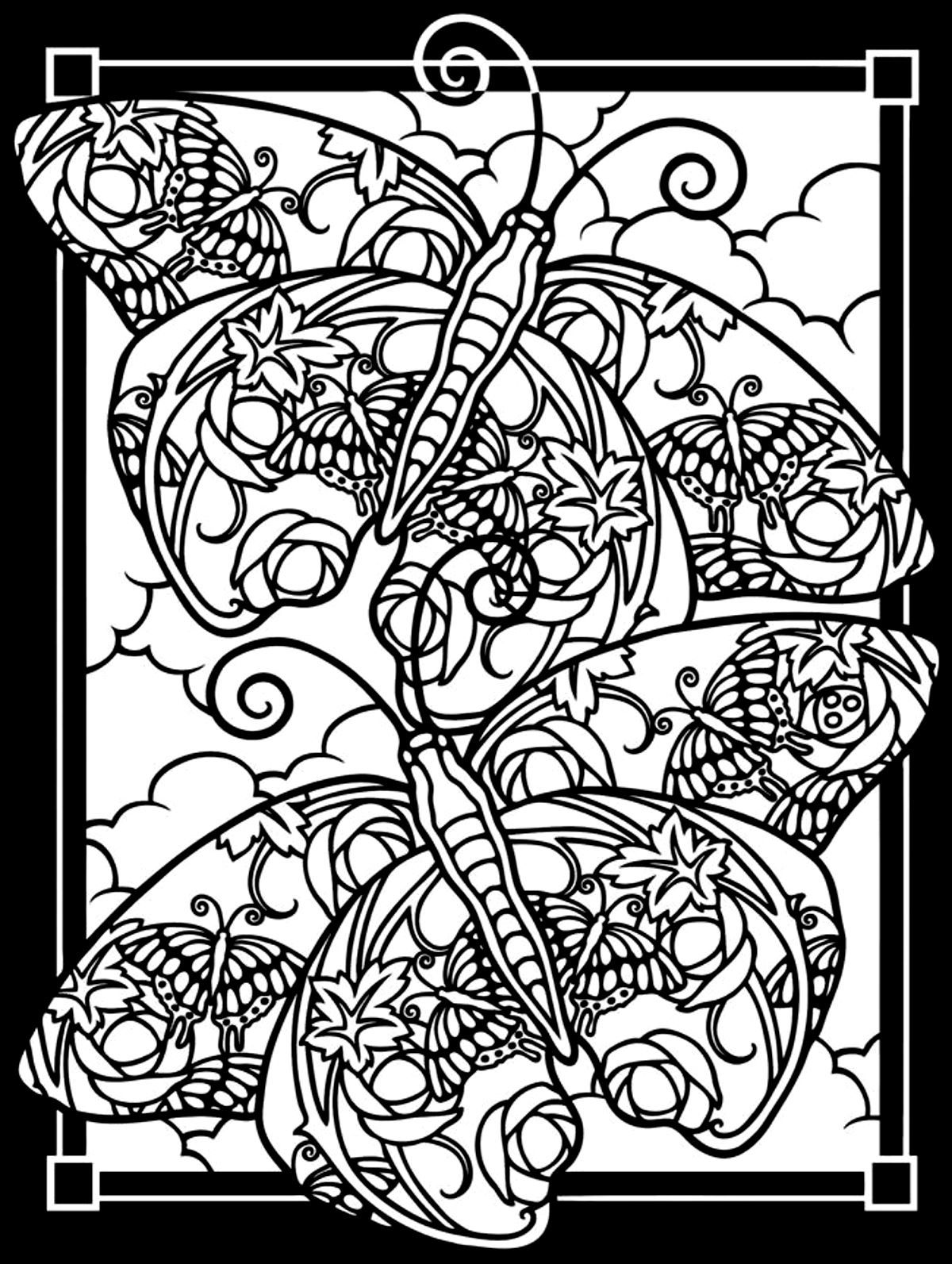free coloring page coloring adult difficult two butterflies black background