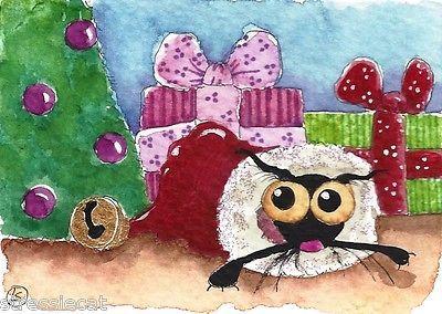 ACEO Original Watercolor Folk Art Stressie Cat Christmas Tree Santa Hat Gift | eBay
