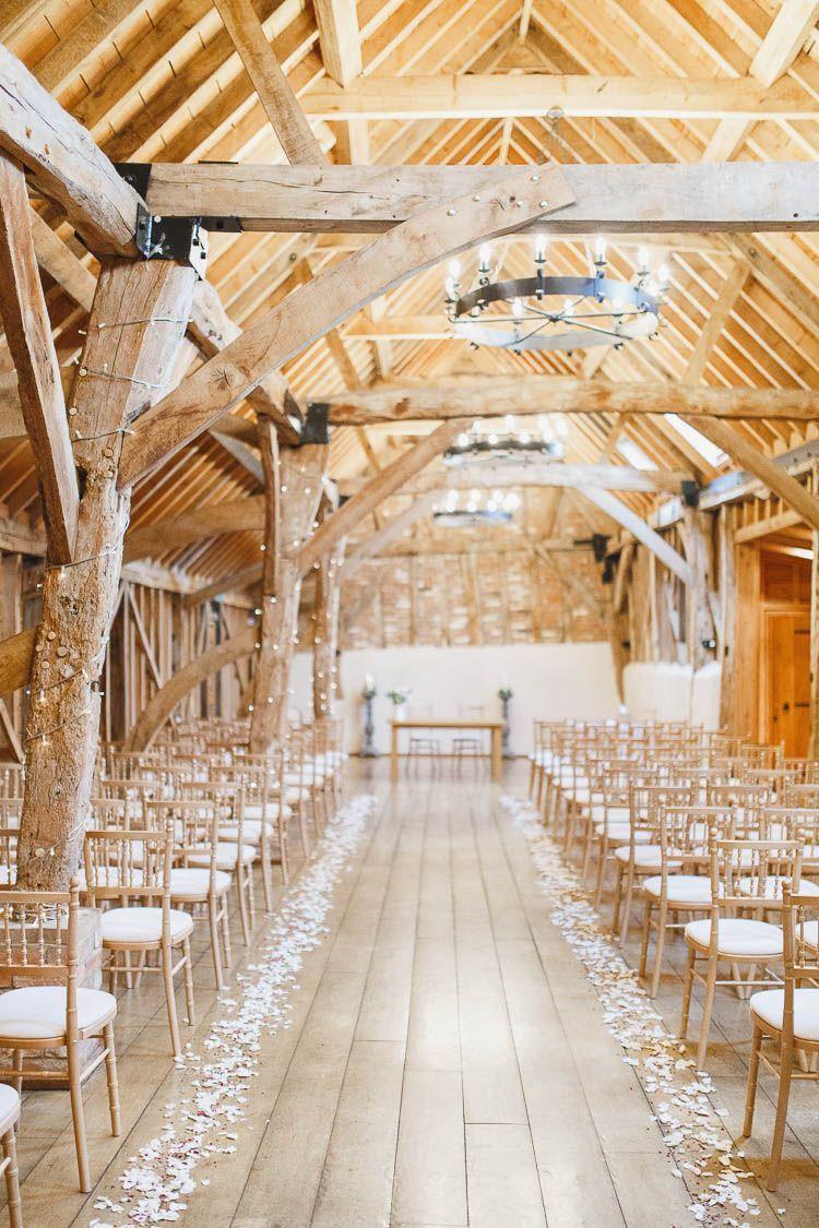 Fairy light wedding decoration ideas  Bassmead Manor Barns Confetti Petal Aisle Beautiful Rustic Fairy