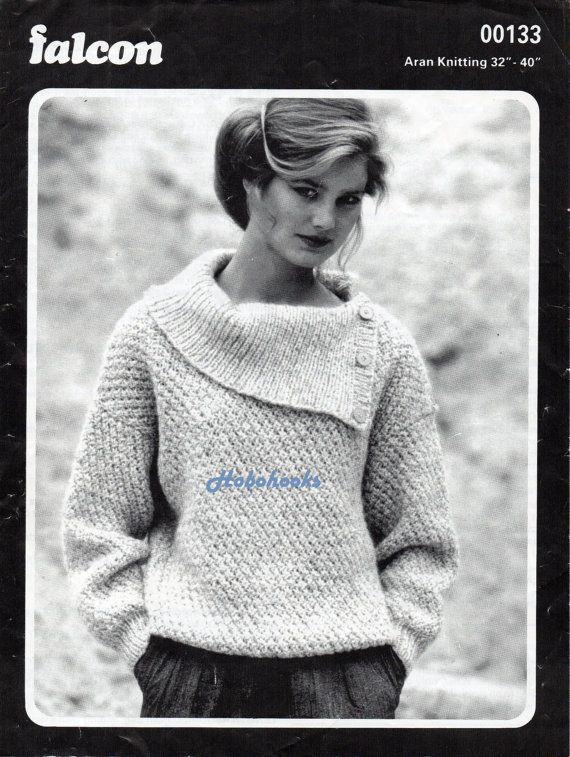 Womens knitting pattern womens aran sweater pattern ladies aran ...