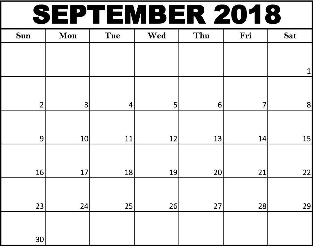 Free Printable September Calendar Blank Template