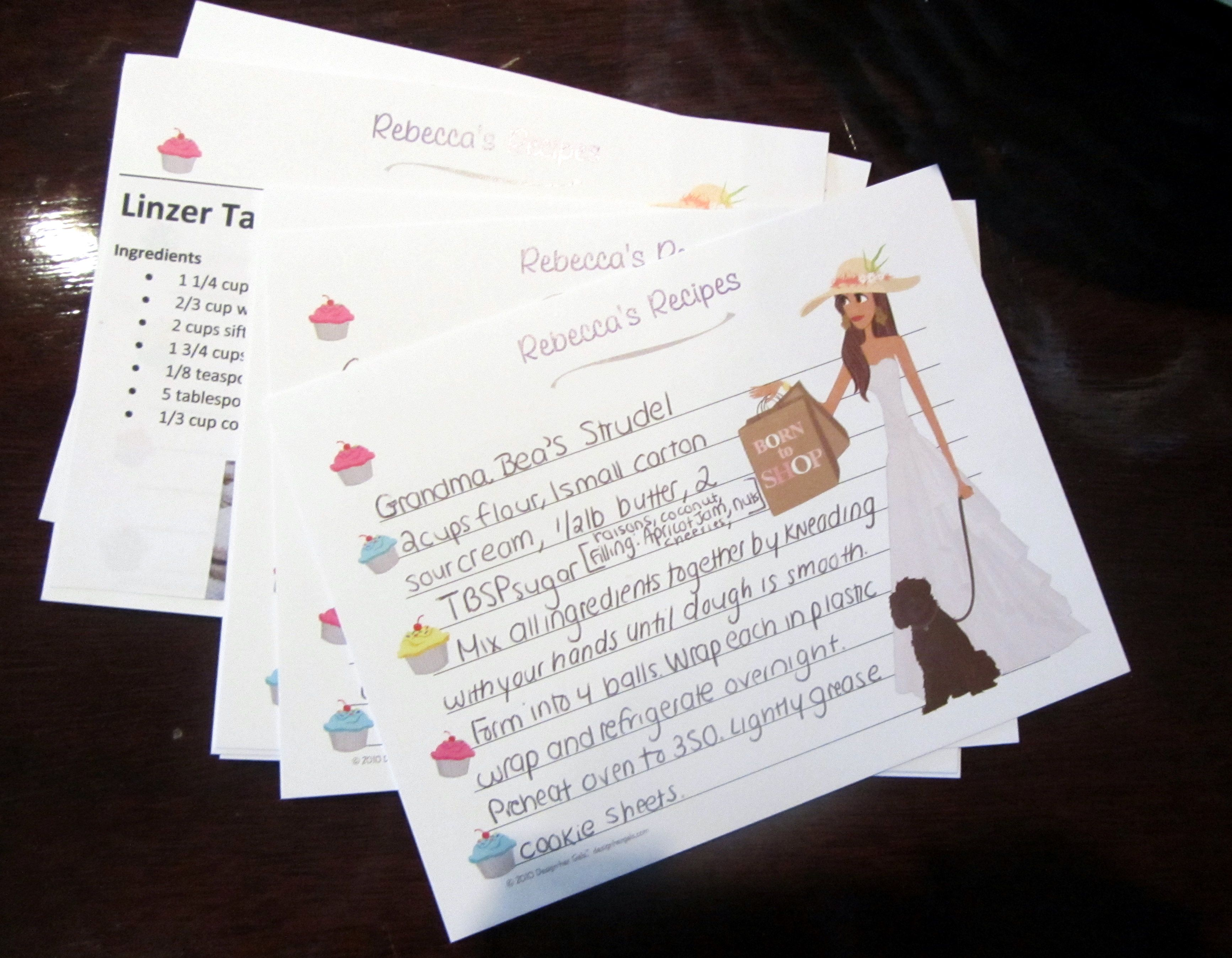 recipes for the bridal shower send out with invitation not your generic recipe cards