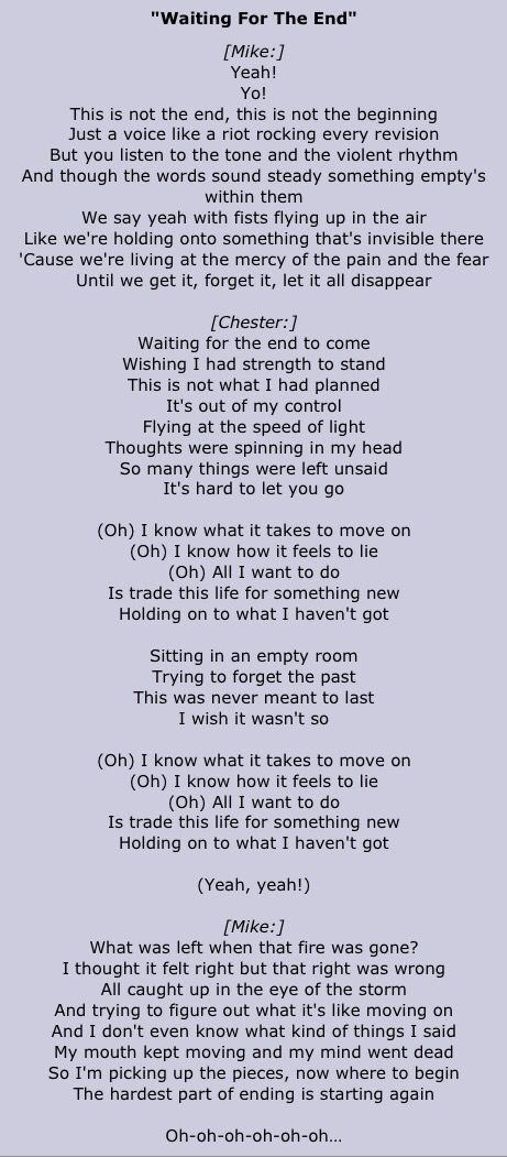 Lyric all i know lyrics : waiting for the end // linkin park • lyrics | lyrics | Pinterest ...