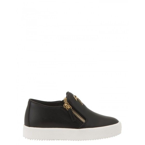 Giuseppe Zanotti Design Leather Slip-on Sneakers (€406) ❤ liked on Polyvore featuring shoes, sneakers, black, leather trainers, black leather shoes, leather slip on shoes, slip on sneakers and giuseppe zanotti sneakers