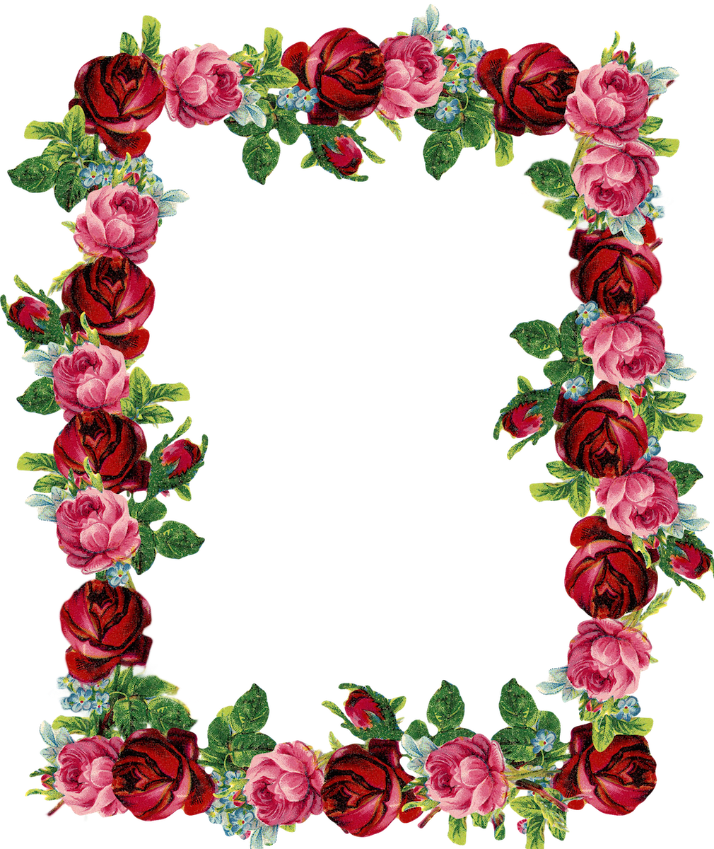 graphic relating to Free Printable Flower Borders identify Totally free electronic basic rose body and border png - Rosenrahmen