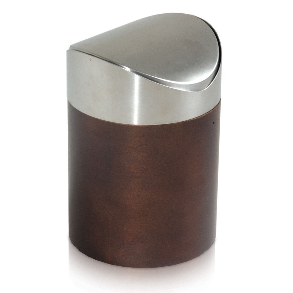 Wooden Bathroom Accessories Set Combo Mango Wood Swing Waste Bin Brown From Moeve Wooden