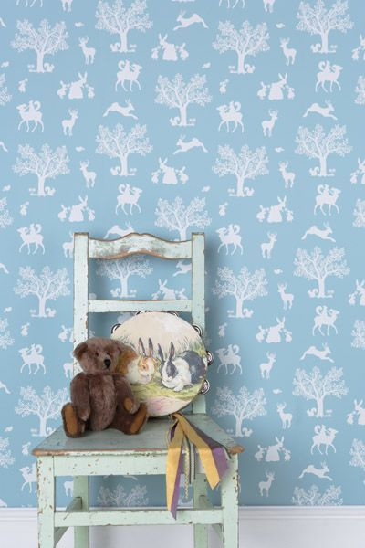 Enchanted Wood Wallpaper - White on duck egg blue