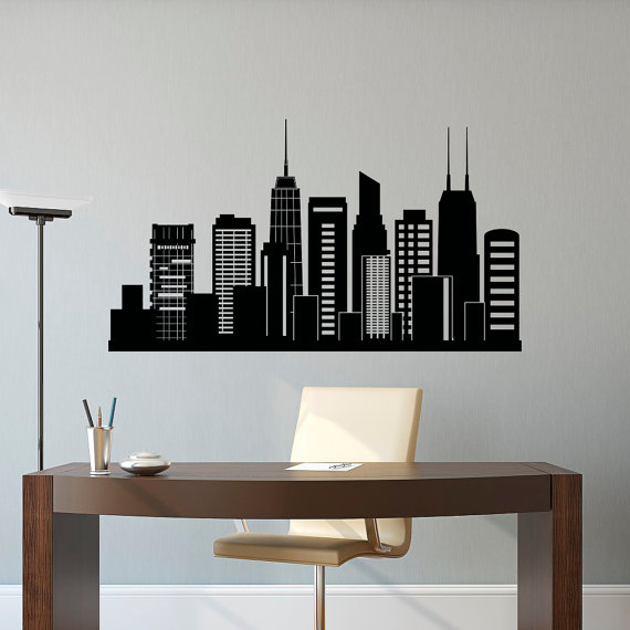Chicago skyline wall decal city silhouette chicago illinois skyline decal office business college dorm living room wall art home decor c127