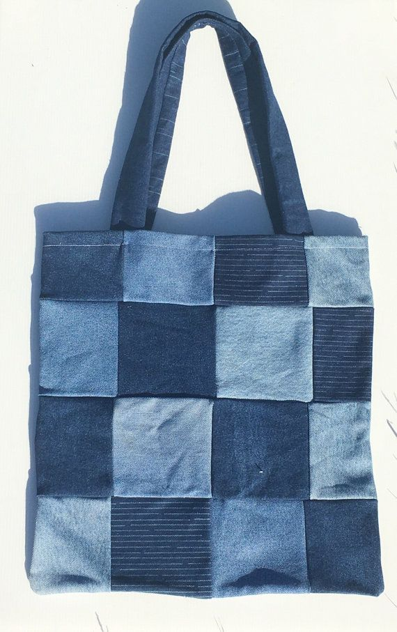 patchwork denim tote bag by porridgegirls on Etsy