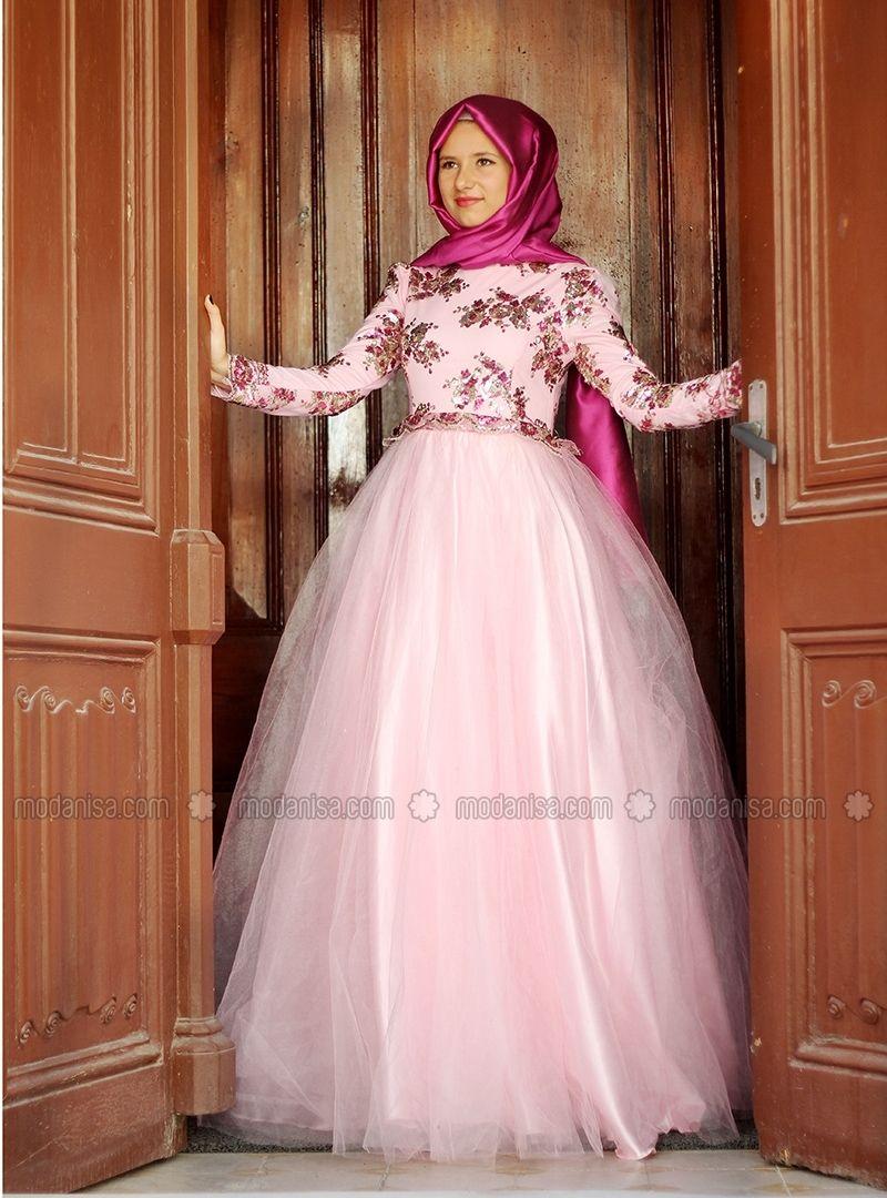 13f2b50ba الأميرة فساتين - الوردي - فساتين سهرة إسلامية - Modanisa   ملابس ...