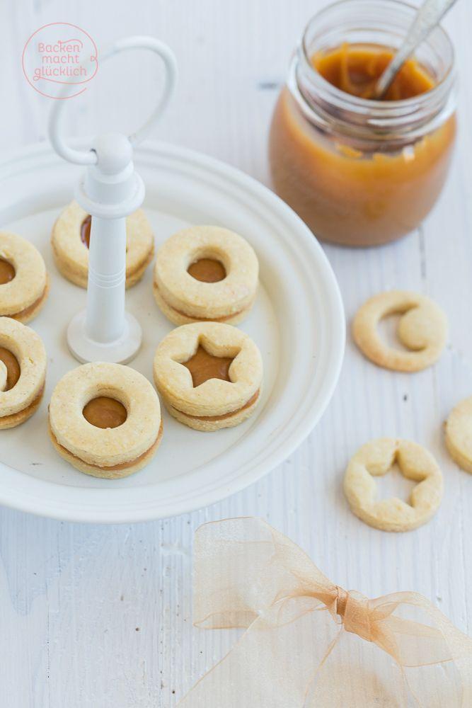 Tonkabohnen-Plätzchen mit Karamellfüllung - die Kombination aus buttrigem Mürbteig, feinem Tonkabohnen-Aroma und cremigem Aufstrich ist köstlich