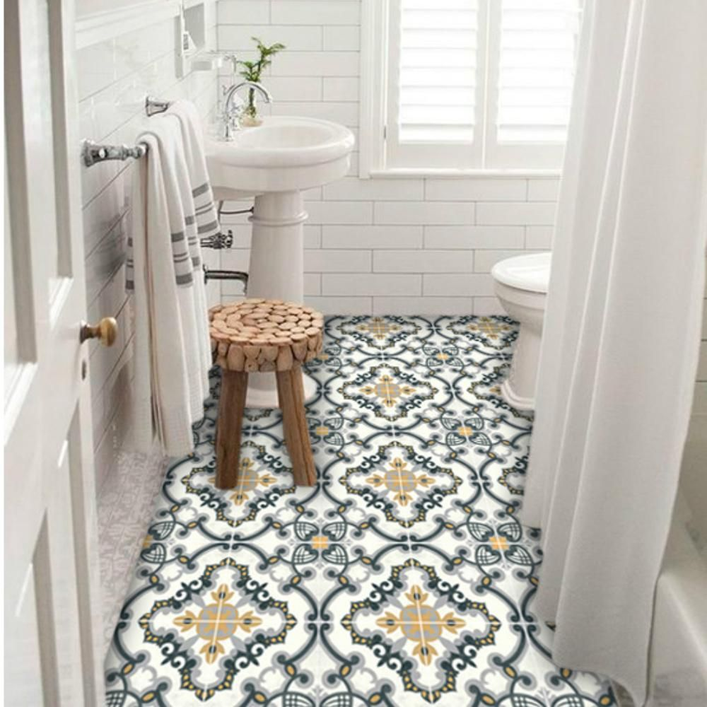 Medici Vinyl Tile Sticker Floor Decal Small Bathroom Storage