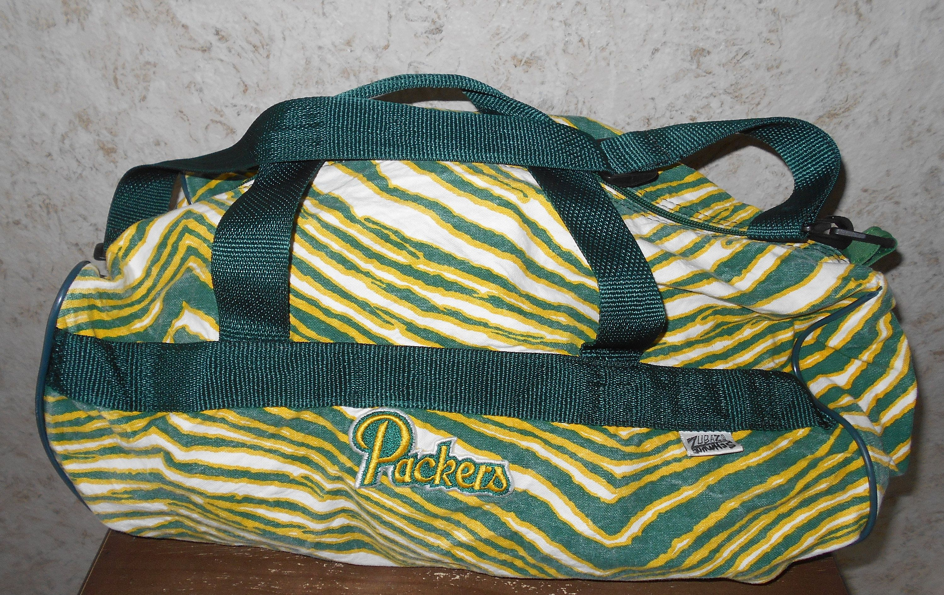 Vintage 80s 90s Zubaz Green Bay Packers Duffle Gym Bag Tote Green Gold Zebra Print Hip Hop Retro Nfl Football Travel Luggage Ma Vintage Outfits Duffle Fun Bags