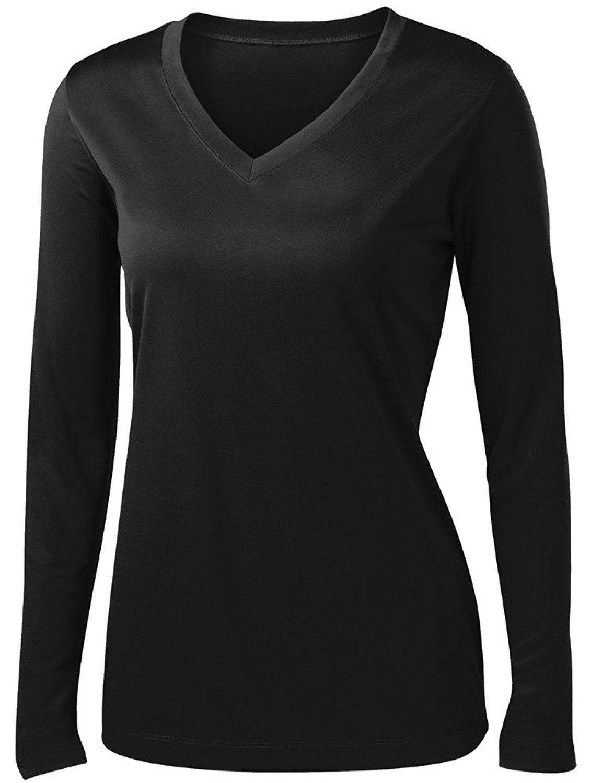 Ladies long sleeve moisture wicking athletic shirts sizes