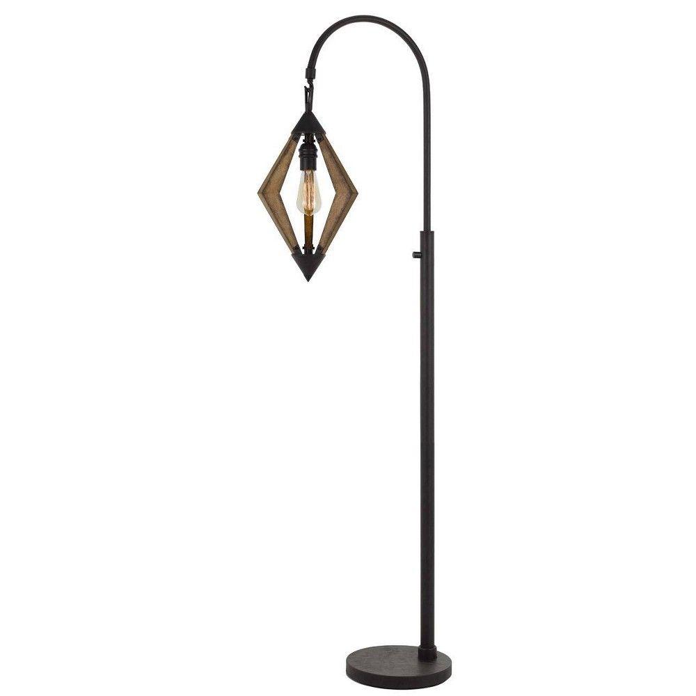 67 Metal Pine Valence Wood Down Bridge Floor Lamp Includes Light Bulb Black Cal Lighting Lamp Arched Floor Lamp Floor Lamp