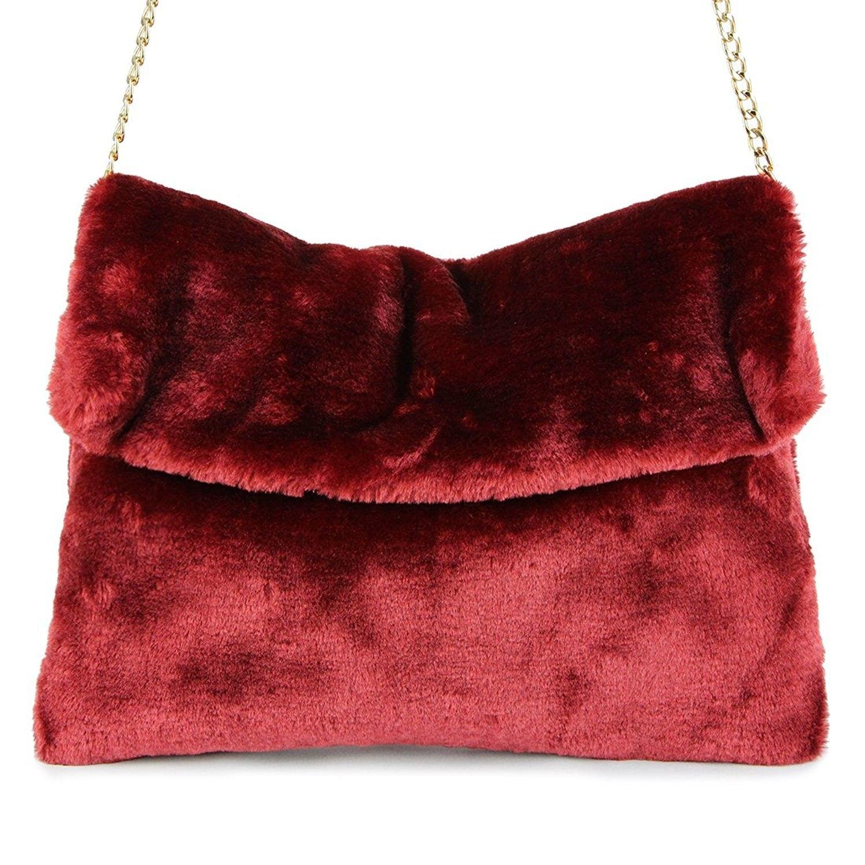 d5a10fcf7c Classical Soft Envelope Faux Fur Bag Clutch Bag Crossbody Purse with ...