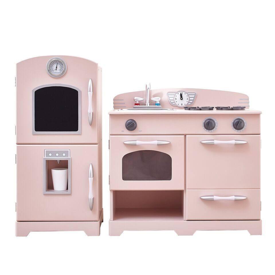 Teamson kids retro pink play kitchen pieces pink play