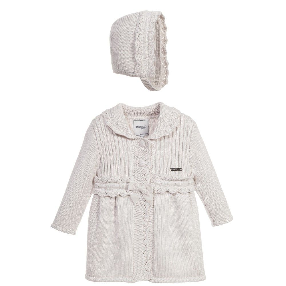 aeb7a740a Mayoral Baby Girls Beige 2 Piece Cotton Knitted Coat   Bonnet Set at ...